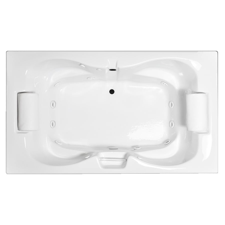 Laurel Mountain Seneca III 2-Person White Acrylic Hourglass In Rectangle Whirlpool Tub (Common: 48-in x 72-in; Actual: 23-in x 48-in x 72-in)