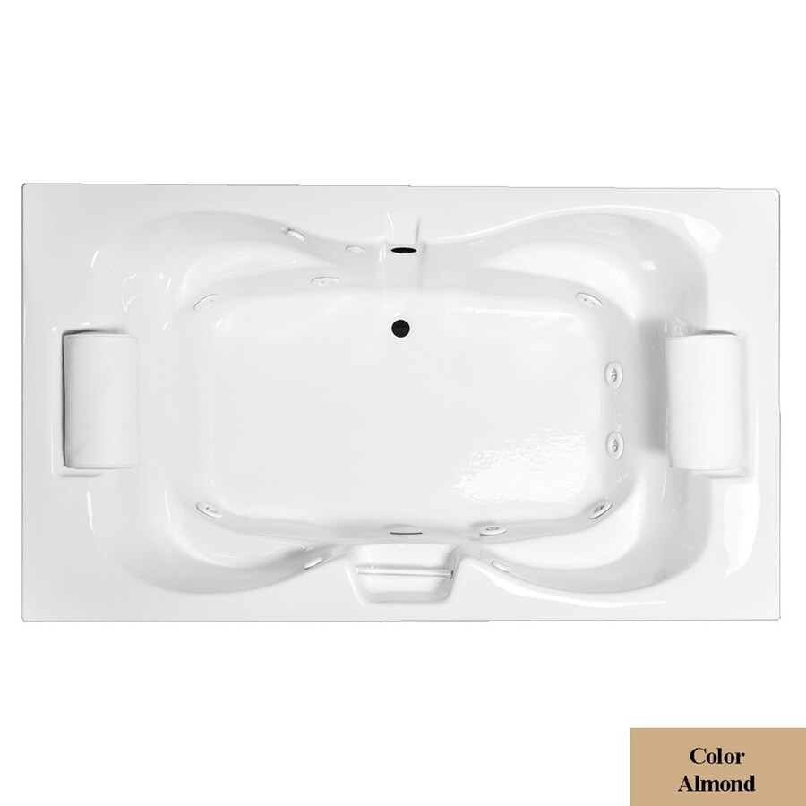Laurel Mountain Seneca III 2-Person Almond Acrylic Hourglass In Rectangle Whirlpool Tub (Common: 48-in x 72-in; Actual: 23-in x 48-in x 72-in)