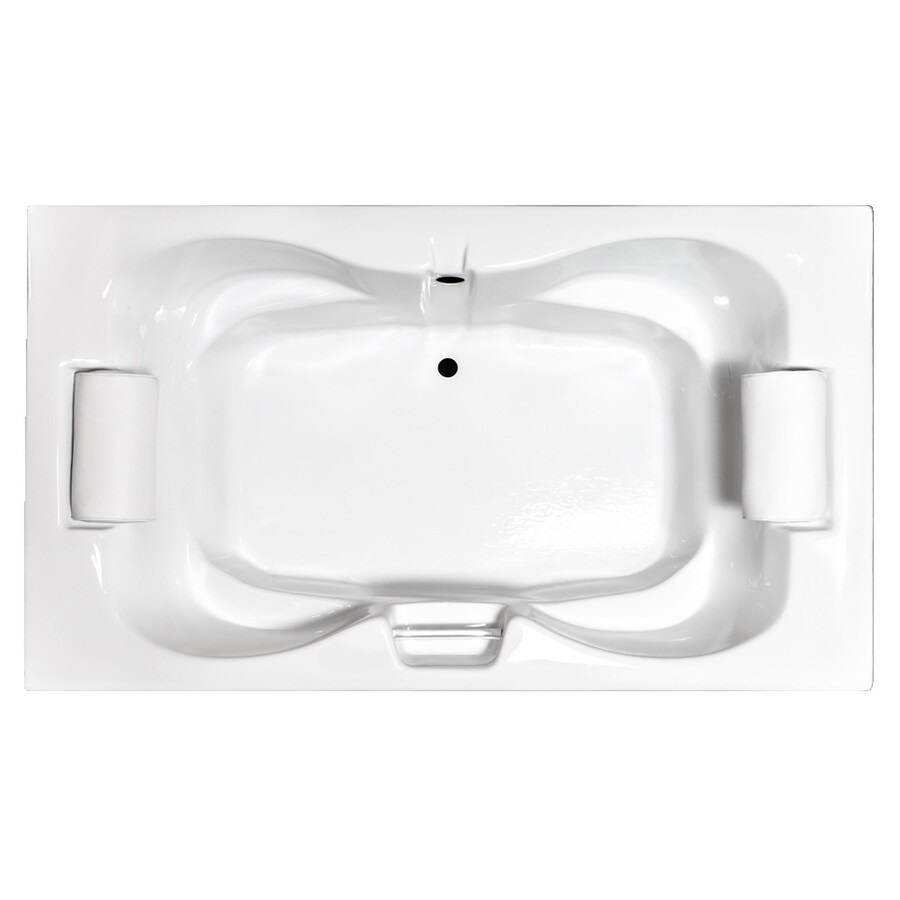 Laurel Mountain Seneca II 71.75-in White Acrylic Drop-In Bathtub with Center Drain