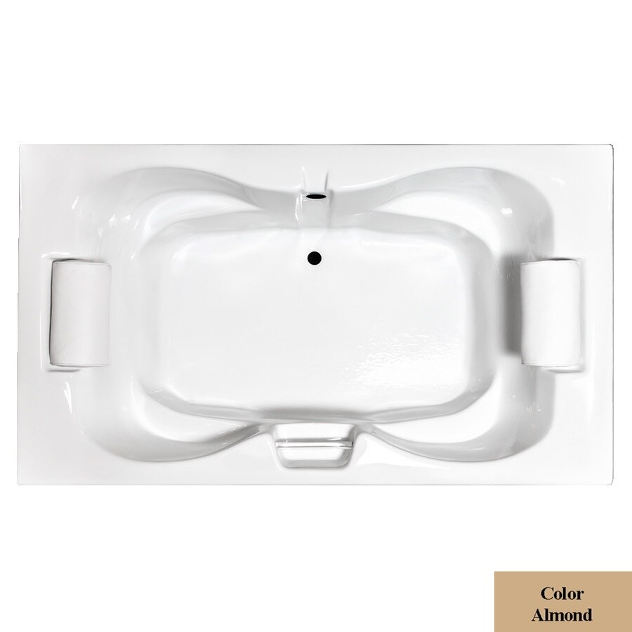 Laurel Mountain Seneca Iii Almond Acrylic Hourglass Drop-in Bathtub with Center Drain (Common: 48-in x 72-in; Actual: 23-in x 48-in x 72-in