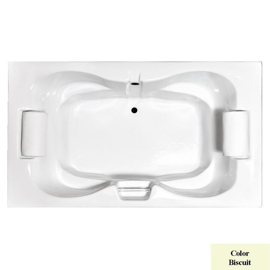 Laurel Mountain Seneca Iii Biscuit Acrylic Hourglass Drop-in Bathtub with Center Drain (Common: 48-in x 72-in; Actual: 23-in x 48-in x 72-in