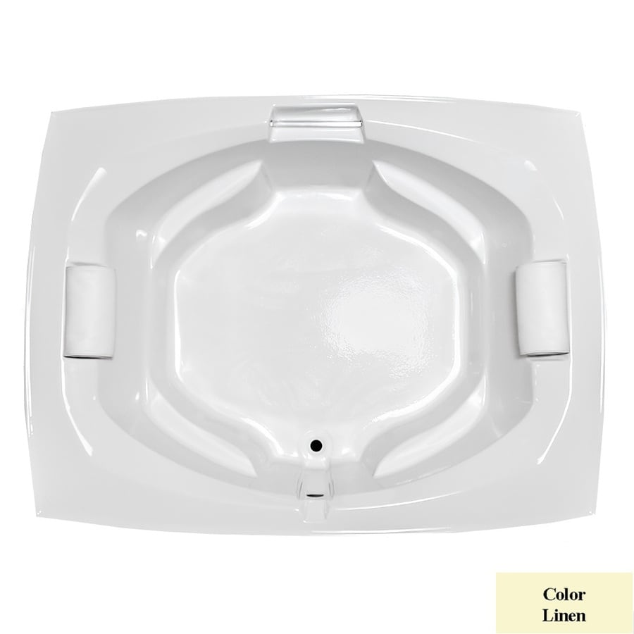 Laurel Mountain Bedford Linen Acrylic Oval In Rectangle Drop-in Bathtub with Center Drain (Common: 66-in x 81-in; Actual: 24.5-in x 63.25-in x 81-in