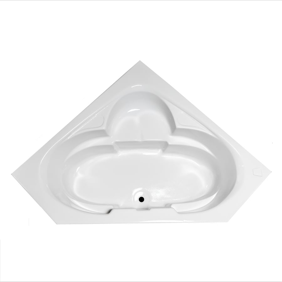 Laurel Mountain Clairton White Acrylic Corner Drop-in Bathtub with Center Drain (Common: 60-in x 60-in; Actual: 23-in x 59.125-in x 59.125-in