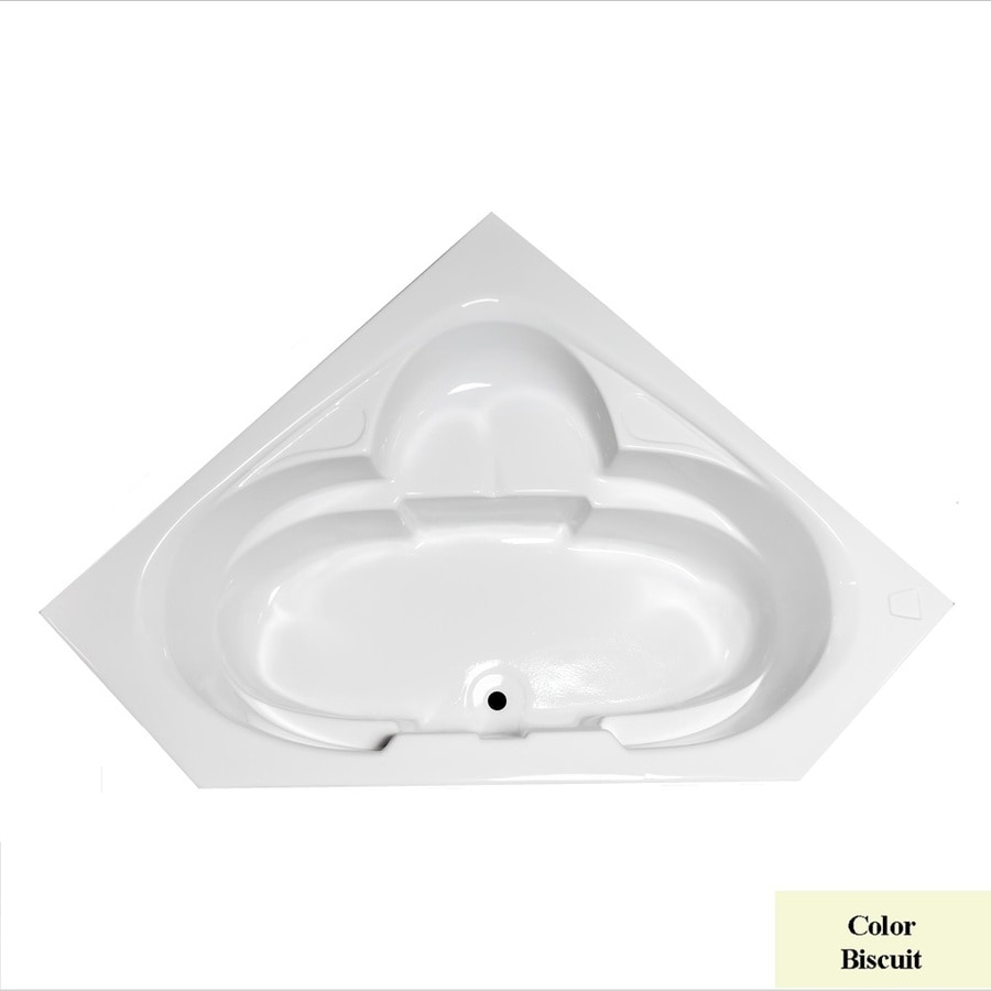 Laurel Mountain Clairton Biscuit Acrylic Corner Drop-in Bathtub with Center Drain (Common: 60-in x 60-in; Actual: 23-in x 59.125-in x 59.125-in