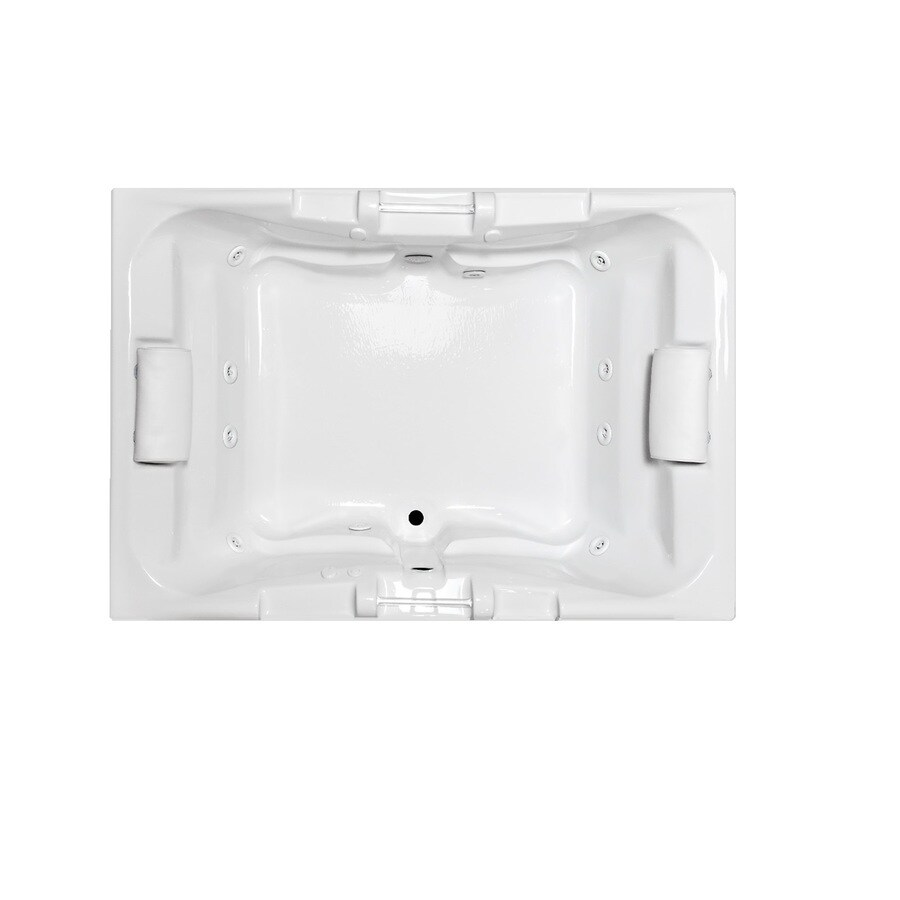 Laurel Mountain Delmont I 60-in White Acrylic Drop-In Whirlpool Tub with Center Drain
