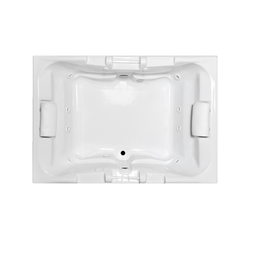 Laurel Mountain Delmont II 72-in White Acrylic Drop-In Whirlpool Tub with Front Center Drain