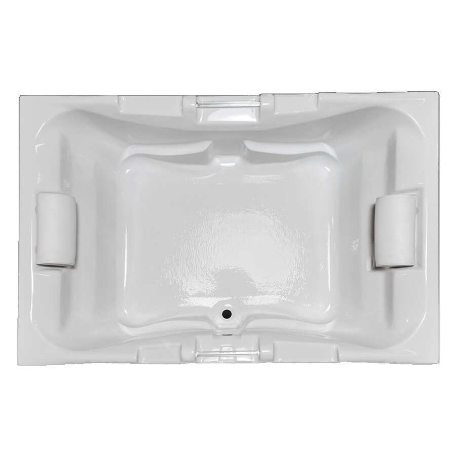Laurel Mountain Delmont II 72-in White Acrylic Drop-In Bathtub with Front Center Drain