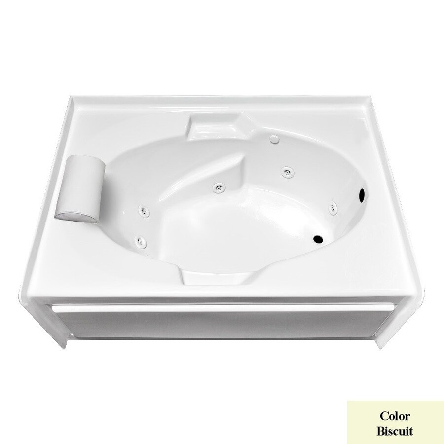 Laurel Mountain Everson VI Biscuit Acrylic Oval In Rectangle Whirlpool Tub (Common: 42-in x 72-in; Actual: 22-in x 42-in x 72-in)