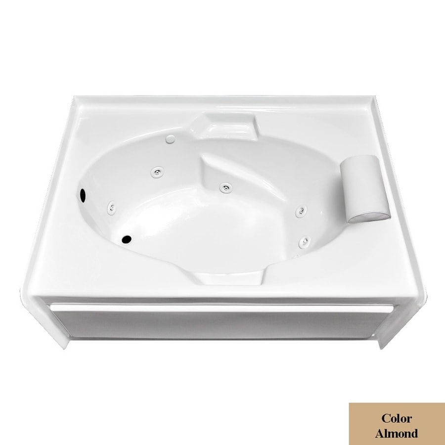 Laurel Mountain Everson VI Almond Acrylic Oval In Rectangle Whirlpool Tub (Common: 42-in x 72-in; Actual: 22-in x 42-in x 72-in)