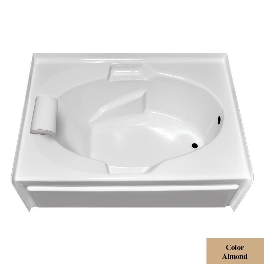 Laurel Mountain Everson V Almond Acrylic Oval In Rectangle Skirted Bathtub with Right-Hand Drain (Common: 42-in x 60-in; Actual: 21.5-in x 41.75-in x 59.875-in