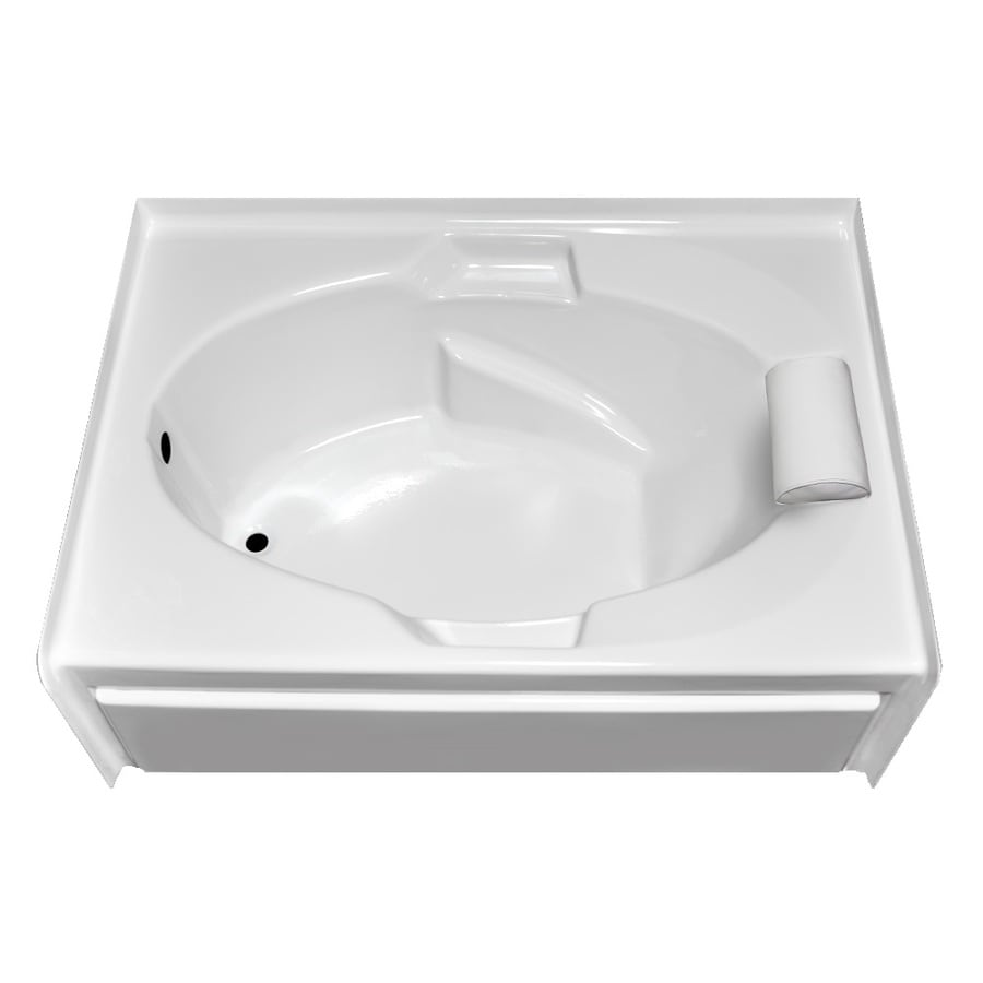 Laurel Mountain Everson V White Acrylic Oval In Rectangle Skirted Bathtub with Left-Hand Drain (Common: 42-in x 60-in; Actual: 21.5-in x 41.75-in x 59.875-in