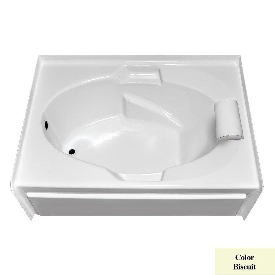 Laurel Mountain Everson V Biscuit Acrylic Oval In Rectangle Skirted Bathtub with Left-Hand Drain (Common: 42-in x 60-in; Actual: 21.5-in x 41.75-in x 59.875-in