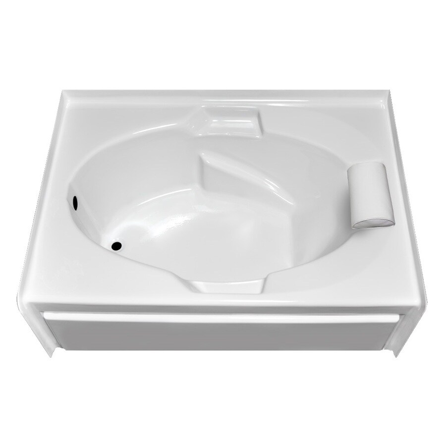 Laurel Mountain Everson Vi White Acrylic Oval In Rectangle Skirted Bathtub with Left-Hand Drain (Common: 42-in x 72-in; Actual: 21.5-in x 42-in x 71.5-in