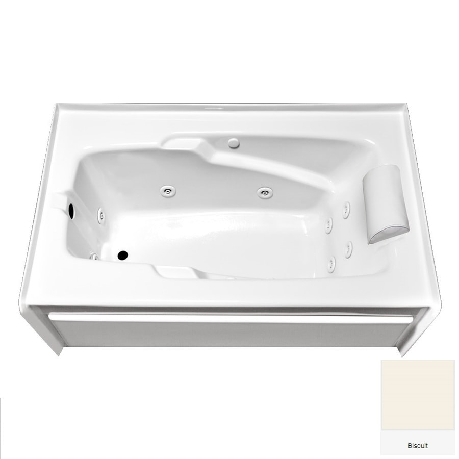 Laurel Mountain Mercer V 60-in Biscuit Acrylic Alcove Whirlpool Tub with Left-Hand Drain