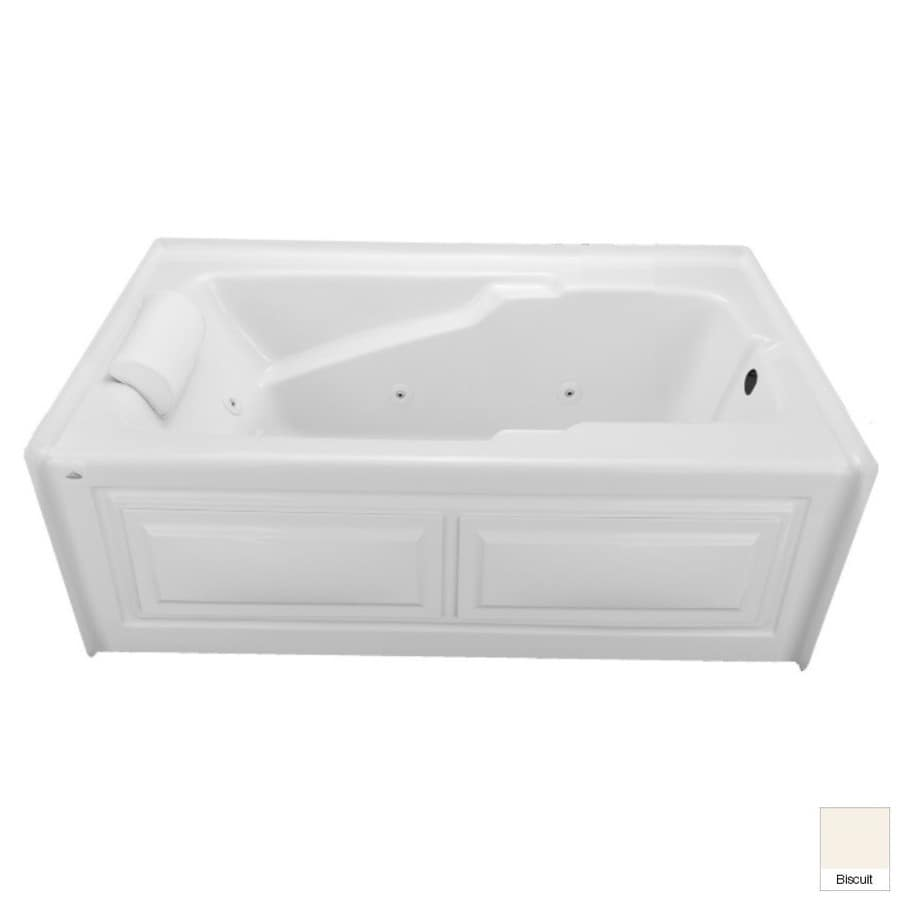 Laurel Mountain Mercer VI 72-in Biscuit Acrylic Alcove Whirlpool Tub with Right-Hand Drain