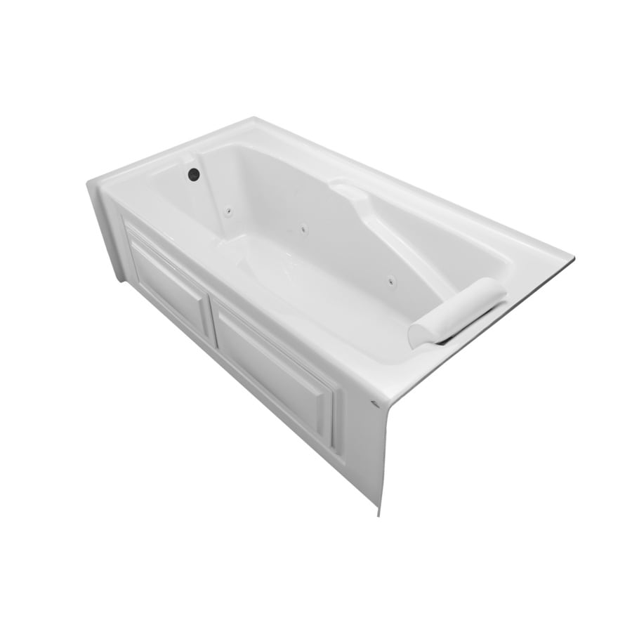 Laurel Mountain Mercer VI 72-in White Acrylic Alcove Whirlpool Tub with Left-Hand Drain