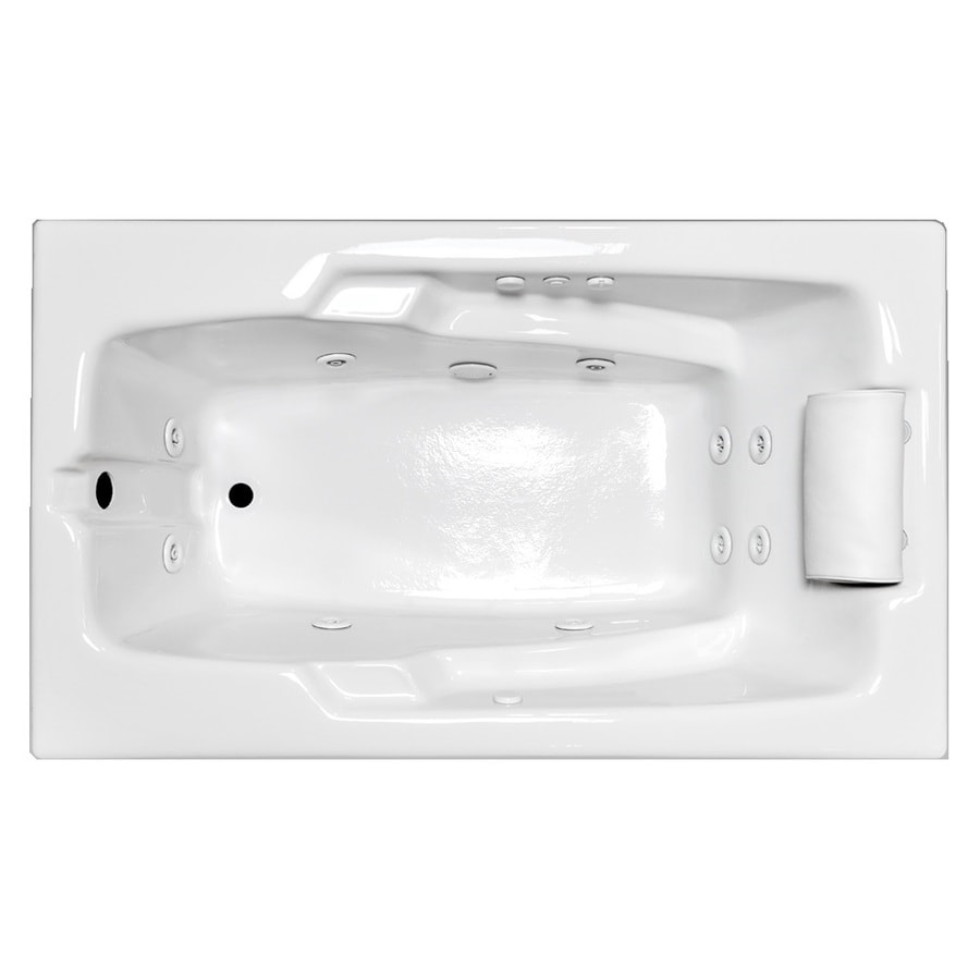 Laurel Mountain Mercer VII White Acrylic Rectangular Whirlpool Tub (Common: 36-in x 66-in; Actual: 22-in x 36-in x 66-in)