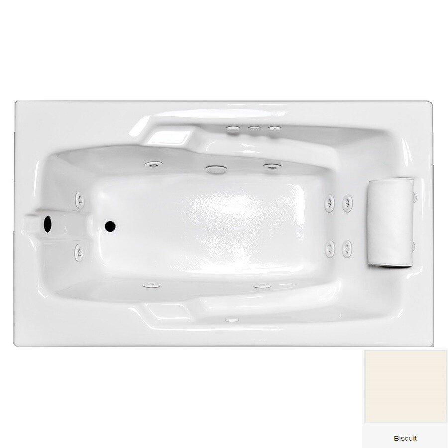 Laurel Mountain Mercer VII 66-in Biscuit Acrylic Drop-In Whirlpool Tub with Reversible Drain