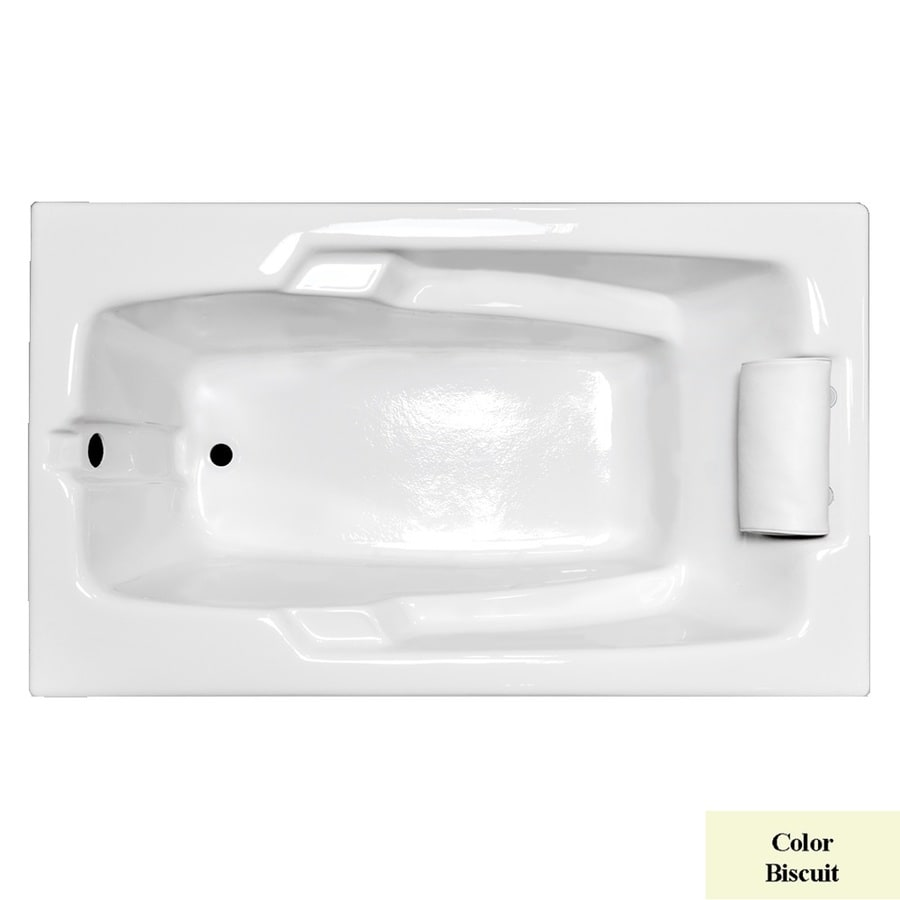 Laurel Mountain Mercer II 59.75-in Biscuit Acrylic Drop-In Bathtub with Reversible Drain