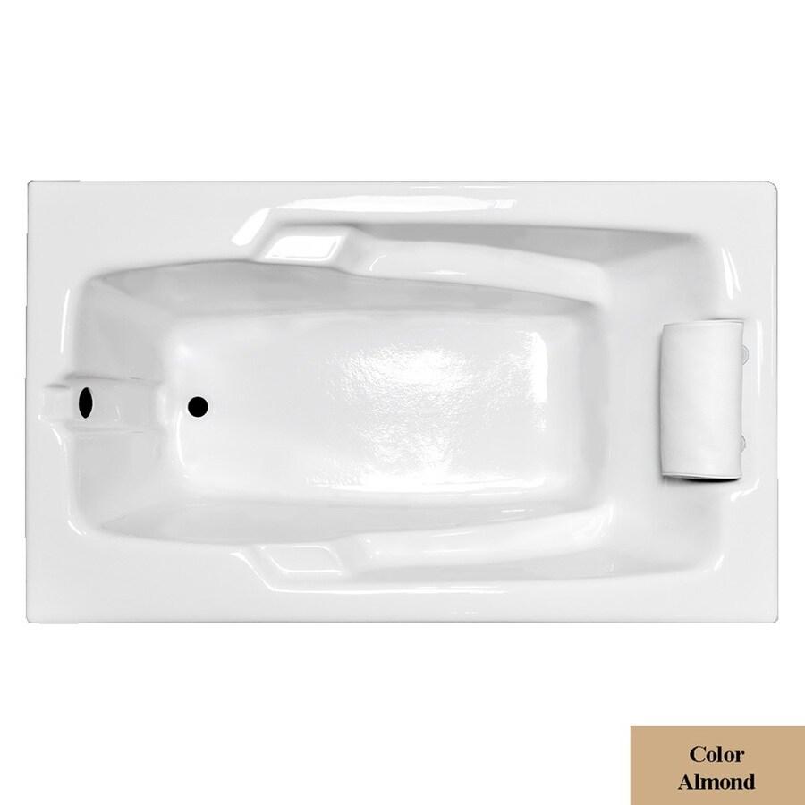 Laurel Mountain Mercer Iii Almond Acrylic Rectangular Drop-in Bathtub with Reversible Drain (Common: 36-in x 72-in; Actual: 21.5-in x 35.75-in x 71.75-in