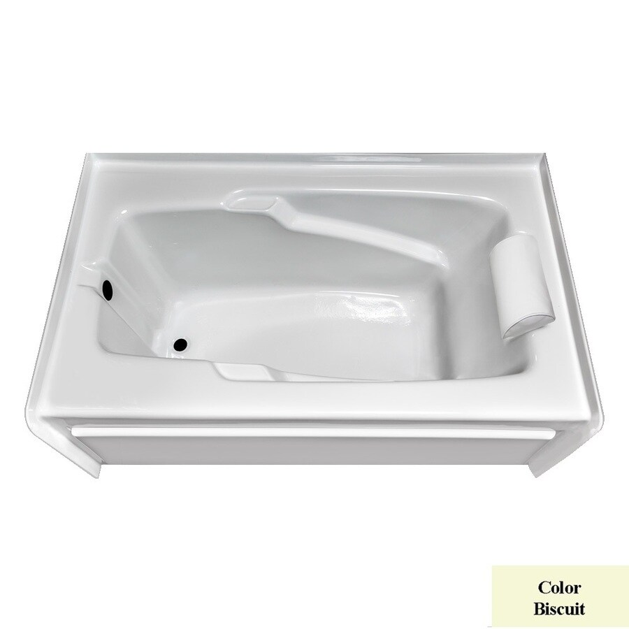 Laurel Mountain Mercer Iv Biscuit Acrylic Rectangular Skirted Bathtub with Left-Hand Drain (Common: 32-in x 60-in; Actual: 21.5-in x 32-in x 60-in