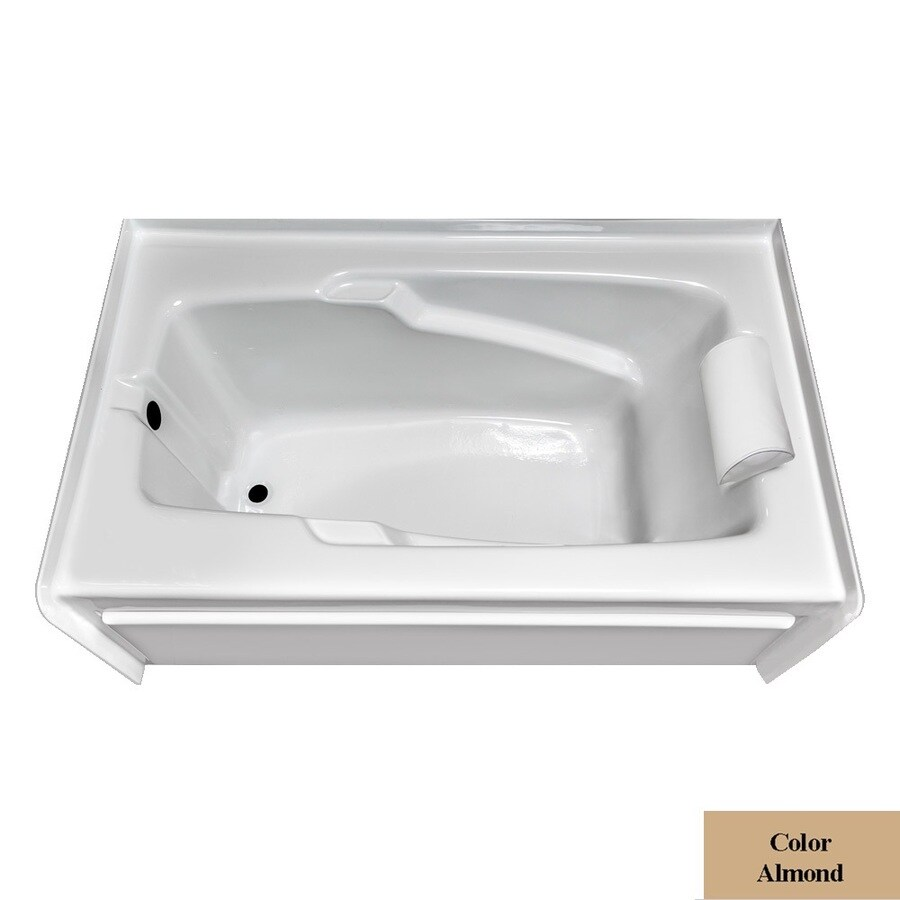 Laurel Mountain Mercer Vi Almond Acrylic Rectangular Skirted Bathtub with Left-Hand Drain (Common: 36-in x 72-in; Actual: 21.5-in x 36-in x 72-in