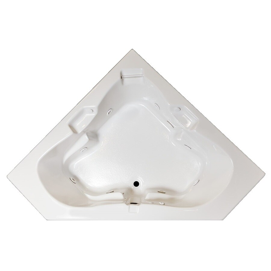 Laurel Mountain Tremont 2-Person White Acrylic Corner Whirlpool Tub (Common: 60-in x 60-in; Actual: 23-in x 60-in x 60-in)
