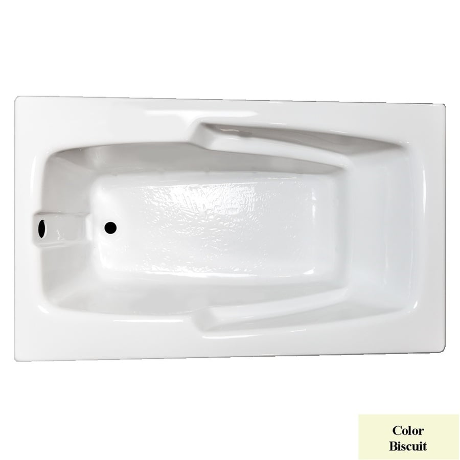 Laurel Mountain Standard Trade Iv Biscuit Acrylic Rectangular Drop-in Bathtub with Reversible Drain (Common: 36-in x 66-in; Actual: 21.5-in x 36-in x 66-in