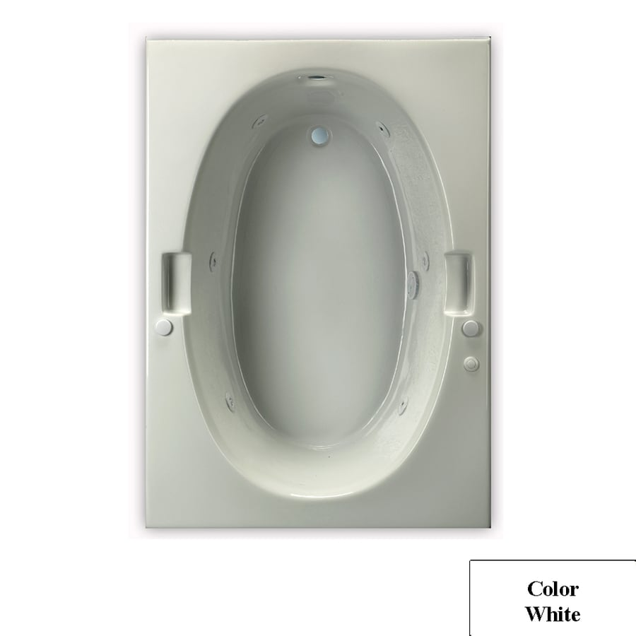 Laurel Mountain Oval Ii Trade 1-Person White Acrylic Oval In Rectangle Whirlpool Tub (Common: 42-in x 72-in; Actual: 21.5-in x 42-in x 72-in)