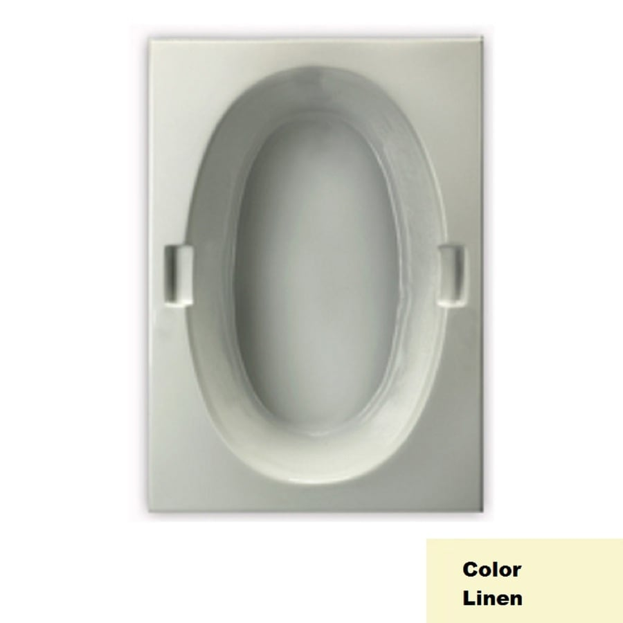 Laurel Mountain Oval Trade Ii Linen Acrylic Oval In Rectangle Drop-in Bathtub with Reversible Drain (Common: 42-in x 72-in; Actual: 21.5-in x 42-in x 71.75-in