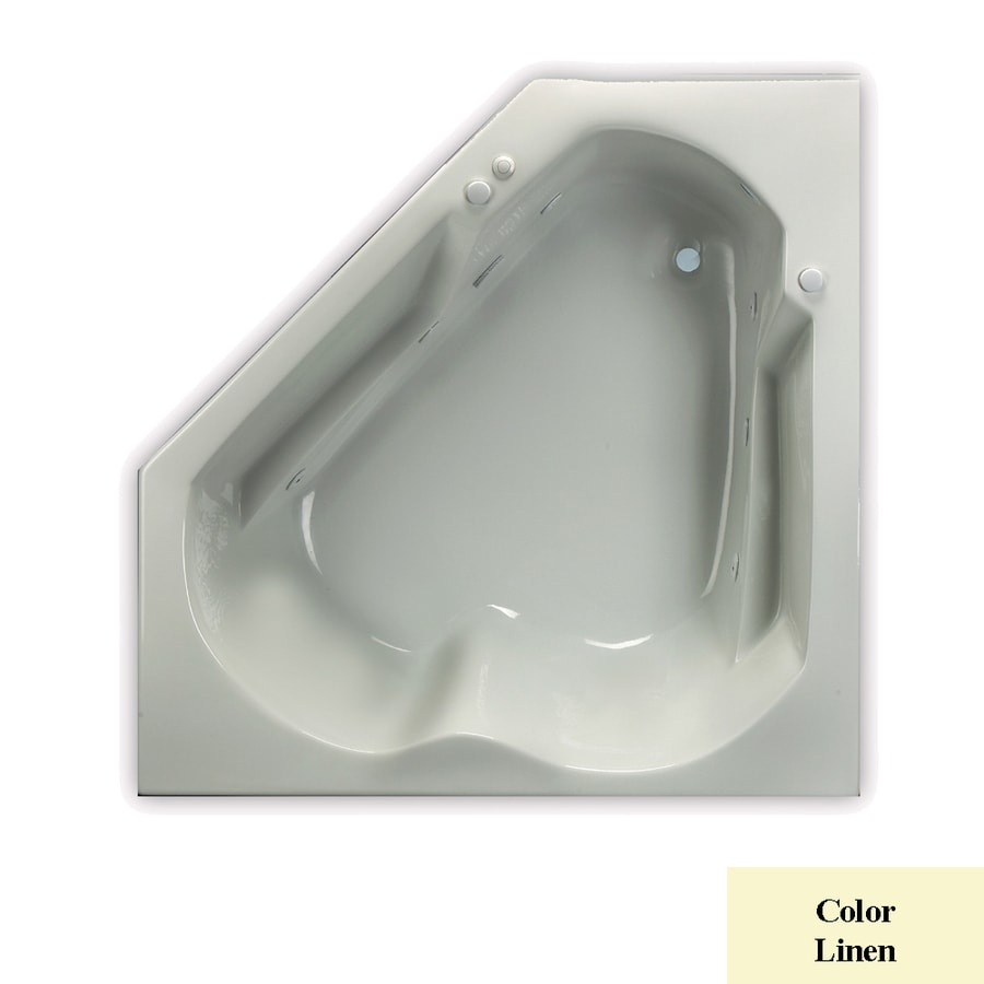 Laurel Mountain Trade Dual Corner 2-Person Linen Acrylic Corner Whirlpool Tub (Common: 60-in x 60-in; Actual: 20-in x 60-in x 60-in)