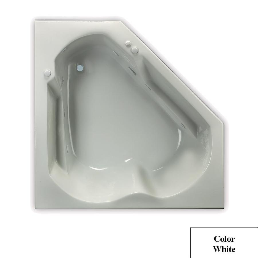 Laurel Mountain Dual Corner Trade 60-in White Acrylic Drop-In Whirlpool Tub with Right-Hand Drain