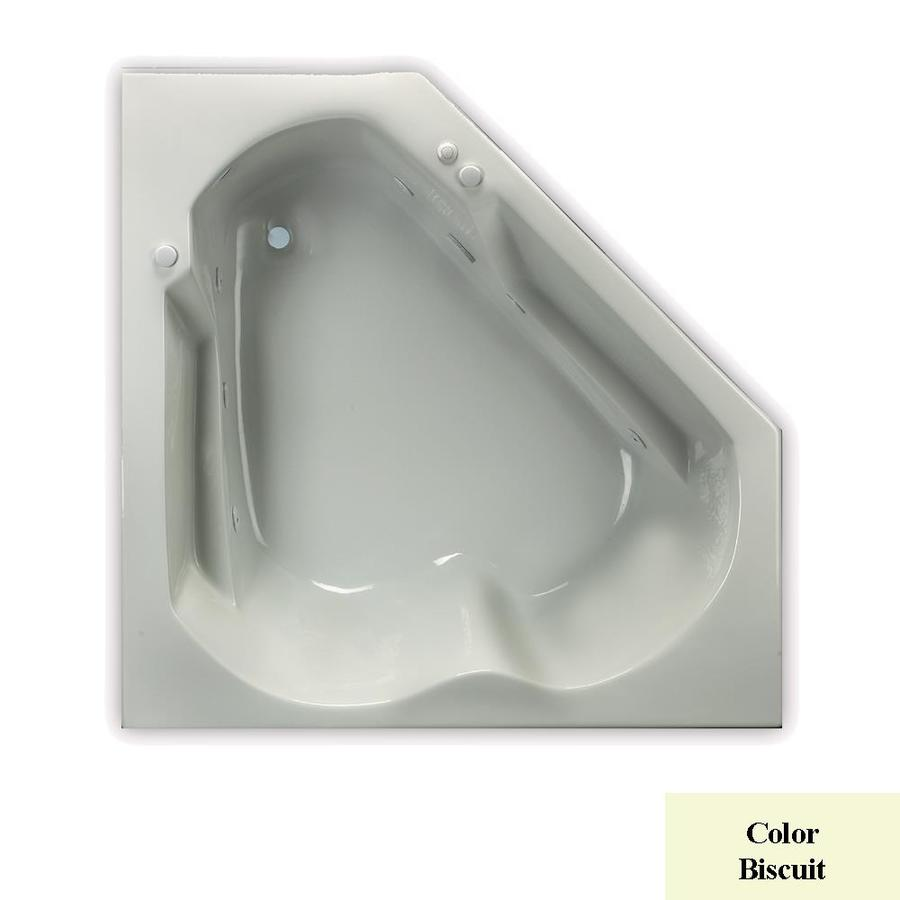 Laurel Mountain Dual Corner Trade 60-in Biscuit Acrylic Drop-In Whirlpool Tub with Right-Hand Drain
