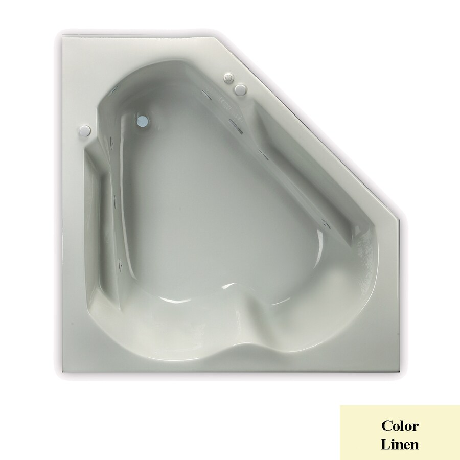Laurel Mountain Dual Corner Trade 2-Person Linen Acrylic Corner Whirlpool Tub (Common: 42-in x 60-in; Actual: 20-in x 60-in x 60-in)