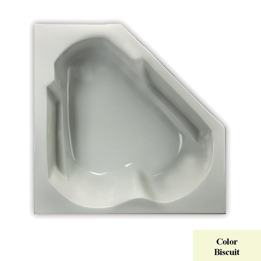 Laurel Mountain Dual Corner Trade Biscuit Acrylic Corner Drop-in Bathtub with Left-Hand Drain (Common: 60-in x 60-in; Actual: 20-in x 59.625-in x 59.625-in