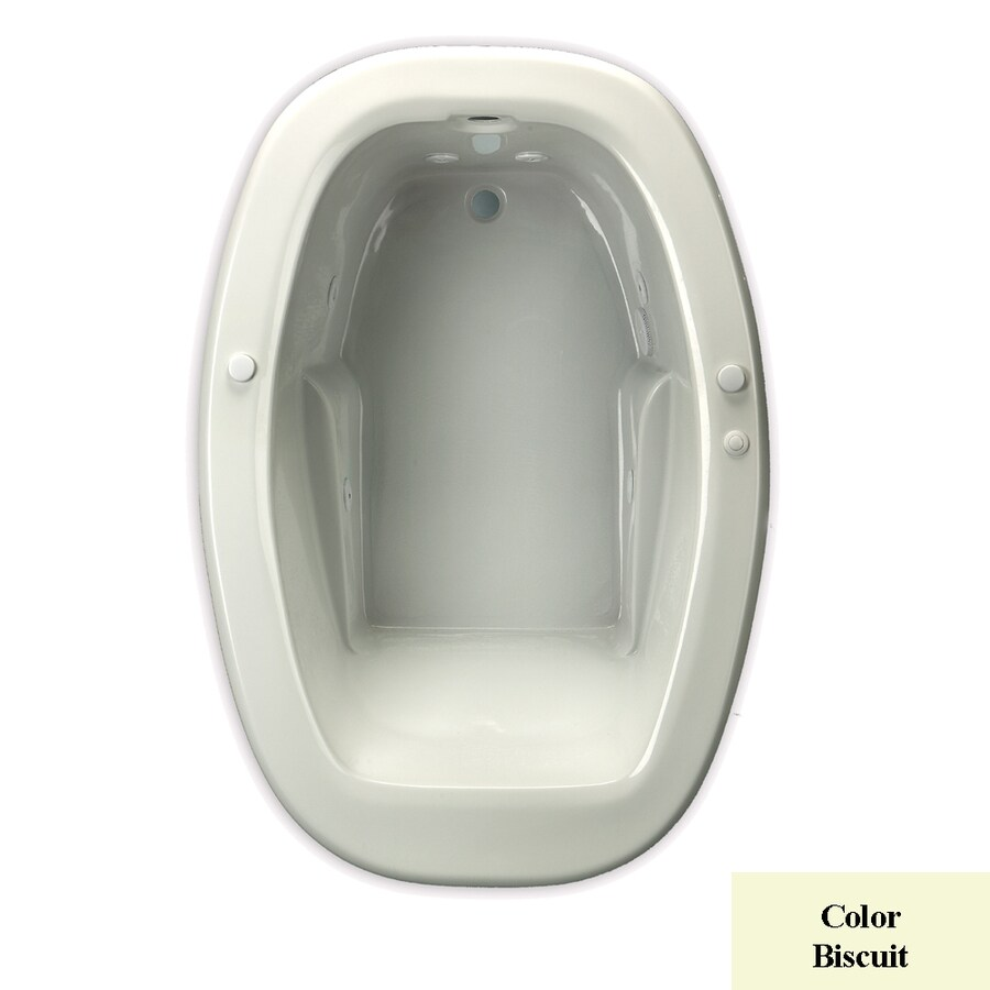 Laurel Mountain Drop In Ii Trade 1-Person Biscuit Acrylic Oval Whirlpool Tub (Common: 42-in x 72-in; Actual: 23-in x 42-in x 72-in)