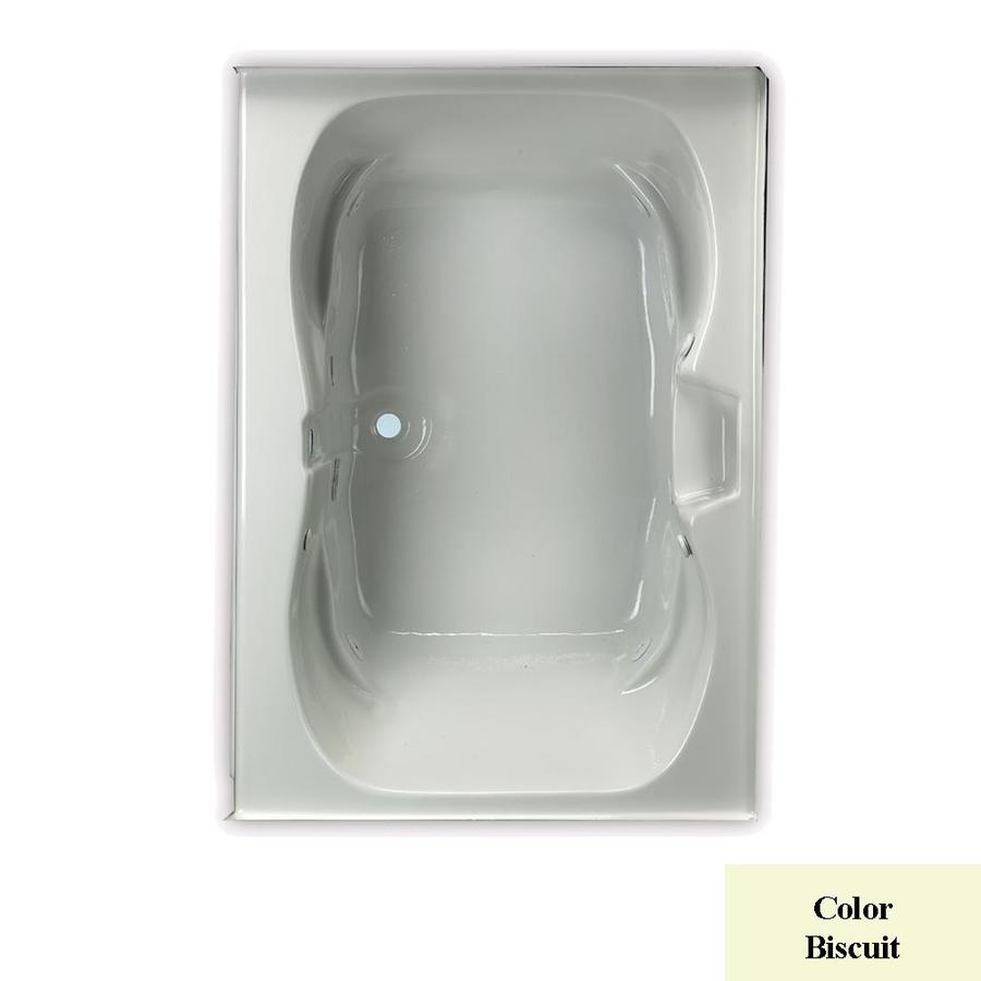 Laurel Mountain Alcove Trade 60-in Biscuit Acrylic Alcove Whirlpool Tub with Center Drain