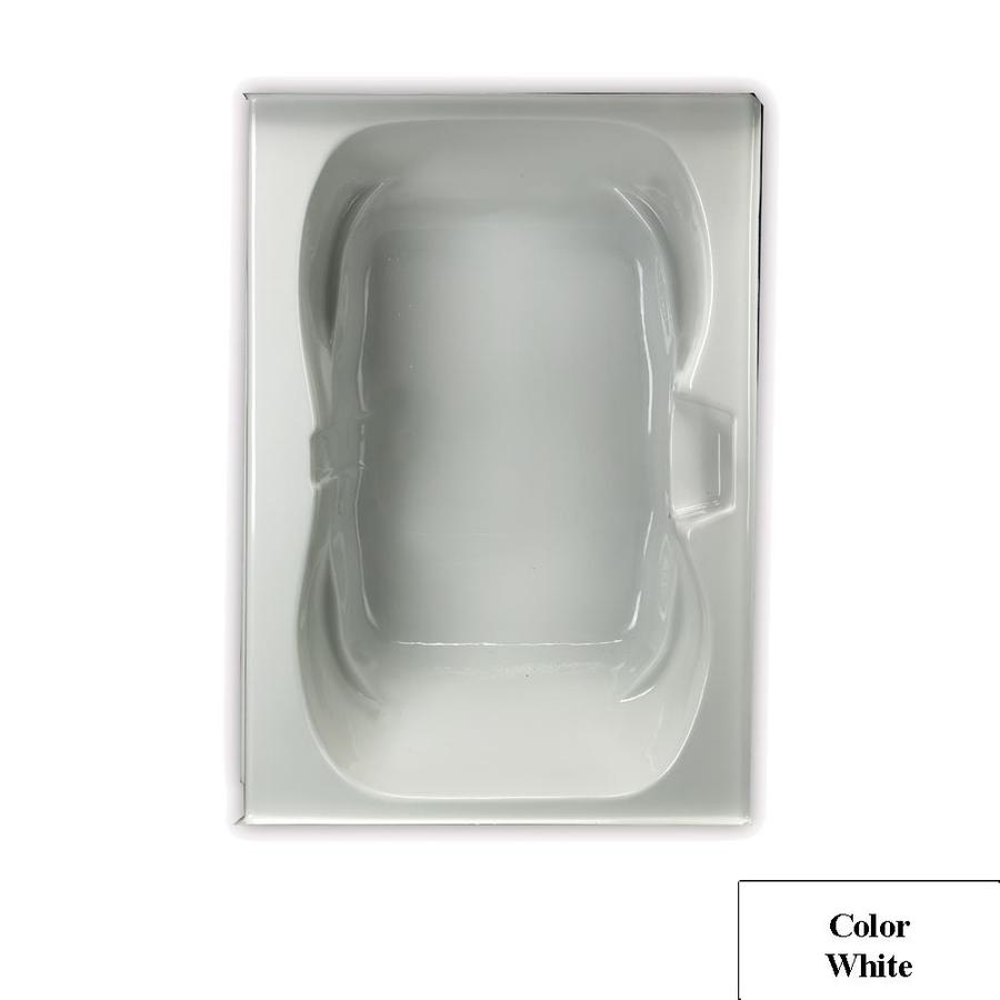 Laurel Mountain Alcove Trade White Acrylic Hourglass Alcove Bathtub with Center Drain (Common: 42-in x 60-in; Actual: 23.25-in x 41.75-in x 59.75-in