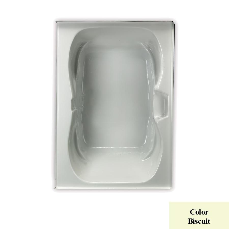 Laurel Mountain Alcove Trade Biscuit Acrylic Hourglass Alcove Bathtub with Center Drain (Common: 42-in x 60-in; Actual: 23.25-in x 41.75-in x 59.75-in
