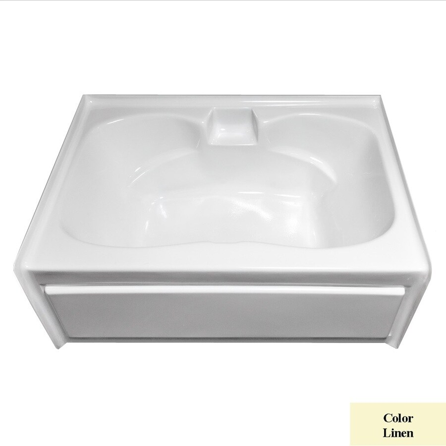 Laurel Mountain Alcove Trade Linen Acrylic Hourglass Alcove Bathtub with Center Drain (Common: 42-in x 60-in; Actual: 23.25-in x 41.75-in x 59.75-in