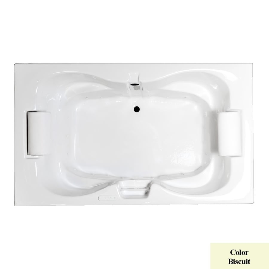 Laurel Mountain Seneca I 60-in Biscuit Acrylic Drop-In Air Bath with Center Drain