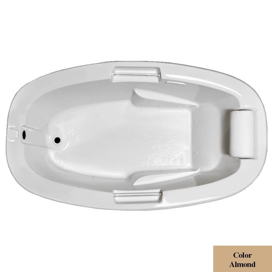 Laurel Mountain York 72-in L x 42-in W x 23-in H Almond Acrylic Oval Drop-in Air Bath