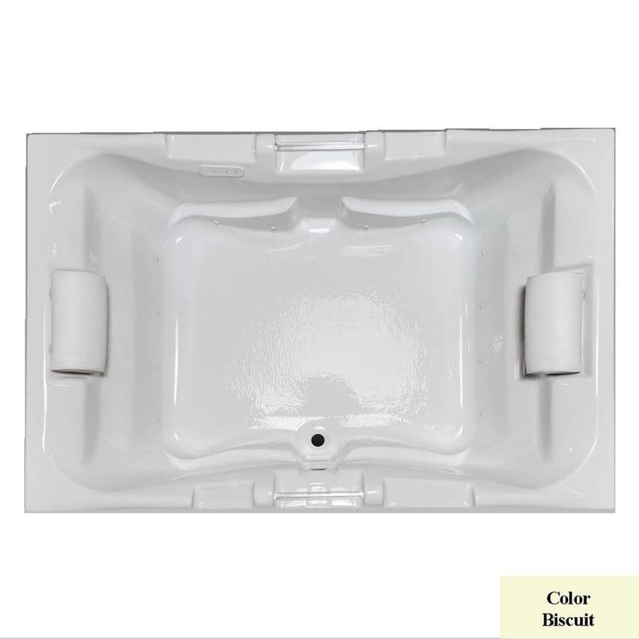 Laurel Mountain Delmont I 59.625-in Biscuit Acrylic Drop-In Air Bath with Center Drain