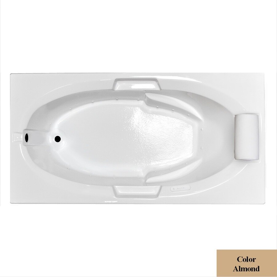 Laurel Mountain Everson I 60-in L x 42-in W x 21.5-in H Almond Acrylic Oval In Rectangle Drop-in Air Bath