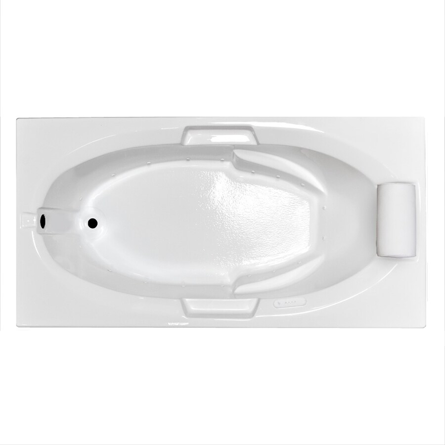 Laurel Mountain Everson III 60-in L x 36-in W x 21.5-in H White Acrylic Oval In Rectangle Drop-in Air Bath
