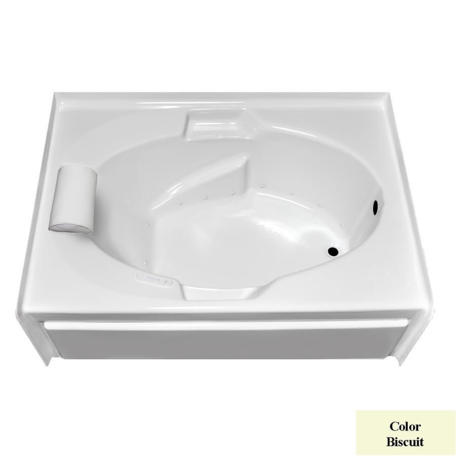 Laurel Mountain Everson V 60-in L x 42-in W x 21.5-in H Biscuit Acrylic Oval In Rectangle Alcove Air Bath