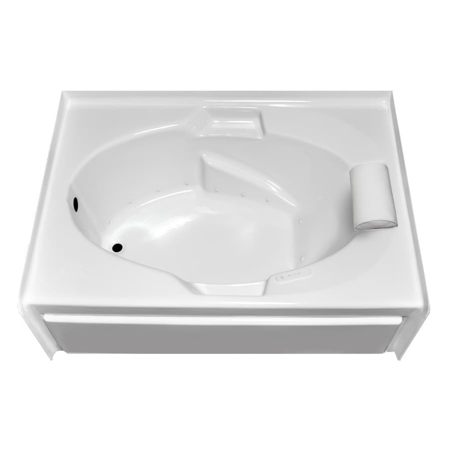 Laurel Mountain Everson V 60-in L x 42-in W x 21.5-in H White Acrylic Oval In Rectangle Alcove Air Bath