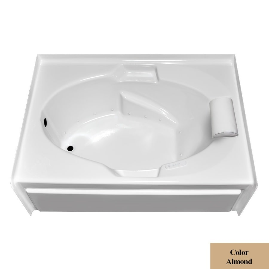 Laurel Mountain Everson V 60-in L x 42-in W x 21.5-in H Almond Acrylic Oval In Rectangle Alcove Air Bath