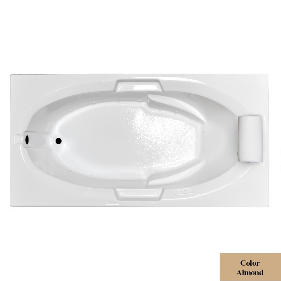Laurel Mountain Everson VII 66-in L x 42-in W x 21.5-in H Almond Acrylic Oval In Rectangle Drop-in Air Bath