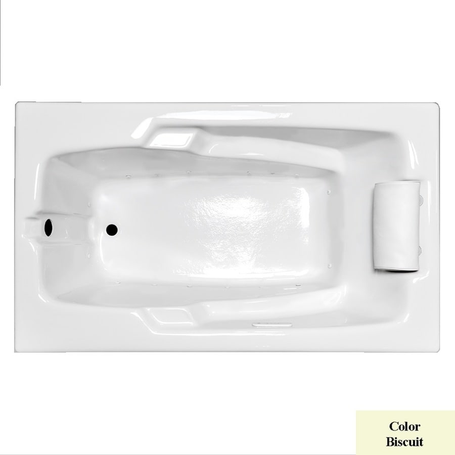 Laurel Mountain Mercer II 59.75-in Biscuit Acrylic Drop-In Air Bath with Reversible Drain